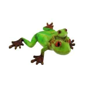 Pale Green Father and Son Tree Frog Statue Figurine