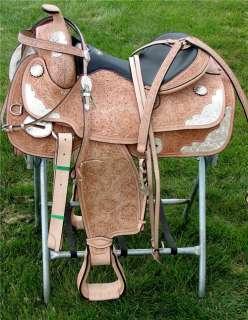 16 DOUBLE T WESTERN horse SADDLE TRAIL TOOLED SHOW SET