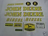 John Deere Model R Diesel Tractor Decal Set   NEW FREE SHIPPING