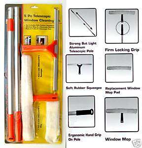 5pc Window Cleaning Clean Mop Squeegee Telescopic Pole