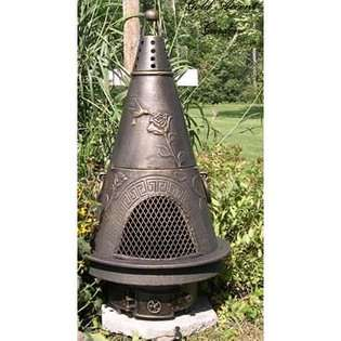 The Blue Rooster Company Garden Chiminea Outdoor Fireplace   Antique