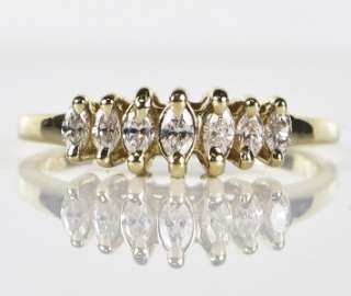 Yellow Gold 1/3ctw G SI1 Marquise Cut Diamond Wedding Band Ring