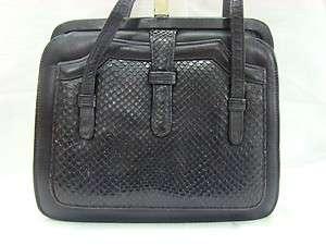 Vintage Black Authentic Snake Skin & Leather Handbag, Purse