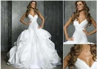 Pegeant v neck Tafftea Puffy Wedding Dress*Custom*◆