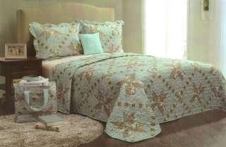 Victoria Classics Floral 5 Piece Full/Queen Quilt Set Dec Pillow/Tote