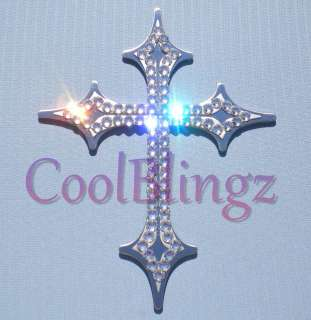 Bling Crystal Rhinestone Christian CROSS Emblem Decal made w