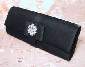 Rhinestone Satin Evening Bag Handbag Purse Clutch Black