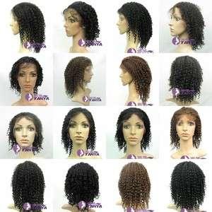 Curl Full Lace Cap India Remy 100% Human Hair Wig 5 Colors CUSTOM