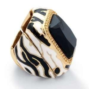 Goldtone Metal Black Crystal Enamel Zebra Stretch Ring Jewelry
