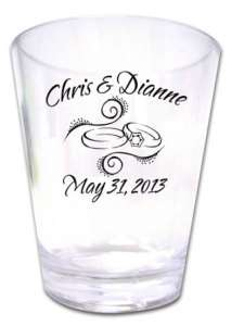 175 PERSONALIZED Rings Wedding Favor Shot Glasses NEW