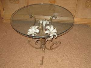 Mid Century Gilt Metal Round Lily Flower End Side Table