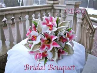 LILY FUSCHIA Wedding Bouquets Bouquet Bridal Corsage Flowers Love silk