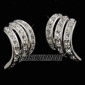 18K White Gold Plated Earring w Swarovski Crystal 11770