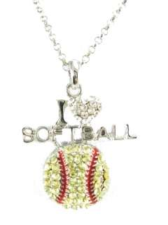 Crystal * Bling * I Love Softball Necklace New