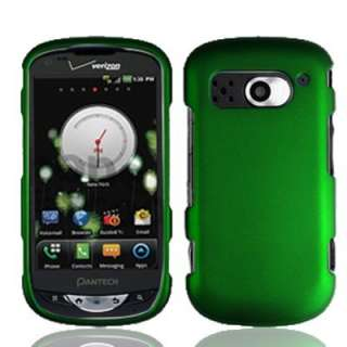 Green Rubberized Hard Faceplate Case Phone Cover Verizon Pantech
