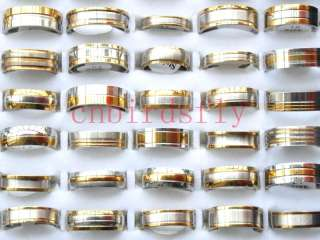 jewelry lots 50pcs bicolor Rough stainless steel gold silver P Rings