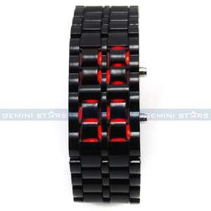 Black Plastic Red LED Digital Lava Men Lady Bracelet Sport Shirt Watch