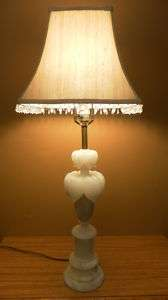 Unique Antique Hand Carved Italian Marble Table Lamp