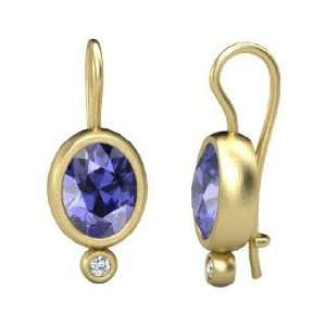 Amphora Earrings, Oval Tanzanite 14K Yellow Gold Earrings