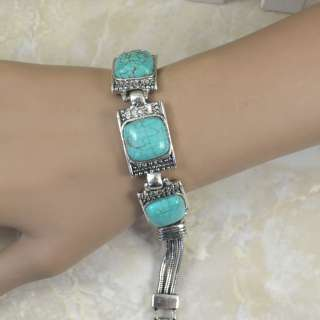 Tibetan Silver Elegant Turquoise Necklace Bracelet Earring Jewelry Set