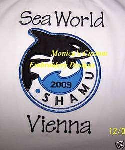 SEA WORLD CUSTOM T SHIRT SHAMU APPLIQUE PERSONALIZED #2