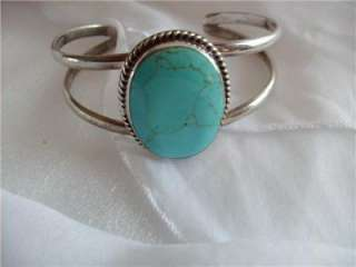 Genuine Turquoise Sterling Silver Cuff Bracelet *Signed