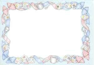 50 Blank Twin Baby Shower Invitations Boy & Girl Border