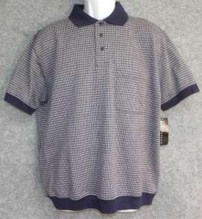 NWT KT CLASSICS Mens Navy Blue Geometric Polo Shirt Size Medium Large
