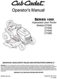 cub cadet i1050 service manual