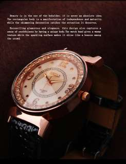 Elegant Jewellery Quartz Wrist Watch White Women Girl Leather