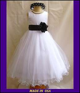 BLACK PAGEANT DAVIDS WEDDING PROM FLOWER GIRL DRESS 1 2 4 6 8 10 12 14