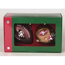 Scottish Christmas San Francisco 49ers Helmet and Football Ornaments