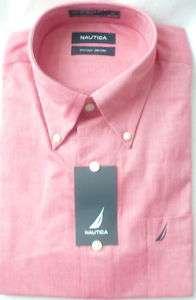 NAUTICA Red Chambray Oxford Cotton Dress Shirt
