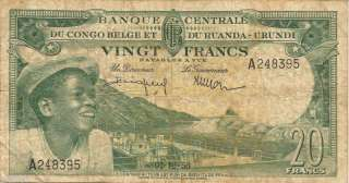 1956 Belgian Congo 20 Francs Bank Note