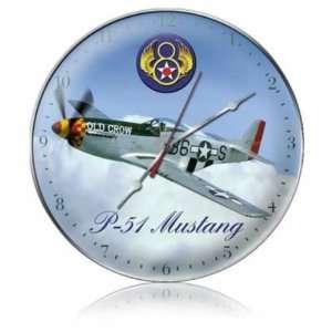 P 38 Air Force Clock Vintage Metal Plane