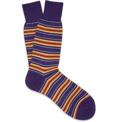 Richard James Striped Merino Wool Blend Socks