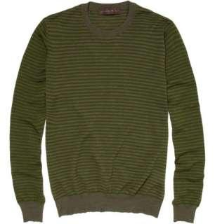 Clothing  Knitwear  Crew necks  Striped Wool Blend Sweater
