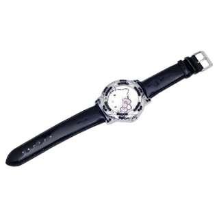 Vp32 Hello Kitty Black Leather Crystal Quartz Watch