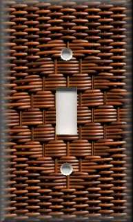 Light Switch Plate Cover   Country Decor   Image Of Wicker   Brown