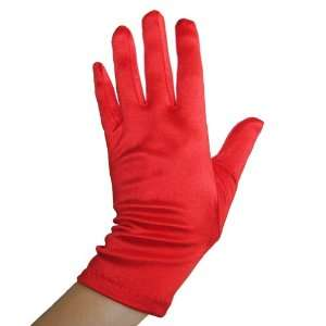 Red Satin Gloves (Wrist Length) ~ Great for Formal, Wedding