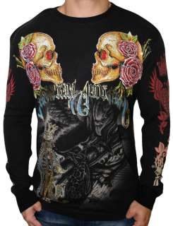 CHRISTIAN AUDIGIER Ed Hardy Mens Eagle Skull Platinum Long Sleeve