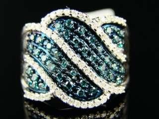 10K White gold Blue and White diamond Fashion Band Diamond Ring .77 Ct