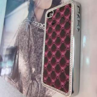 Luxury Designer Leather Bling Crystals Case Cover for Apple iPhone 4