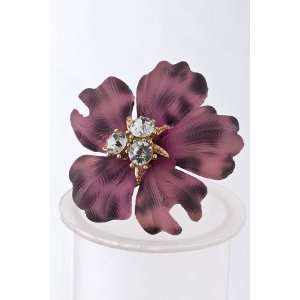 Pink Crystal Cluster Plastic Flower Ring Sports