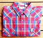 Mens Ely Cattleman Big Man Western Shirt Burgundy Blue Plaid Size 2XB
