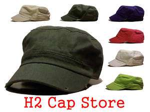 Solid Cadet Army Cap Hat Military Any Colors Vintage St