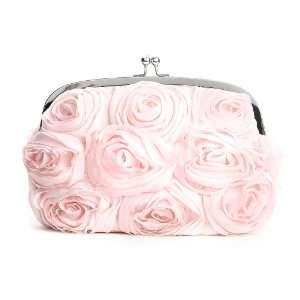 Soft Floral Evening Bag with Pink Roses