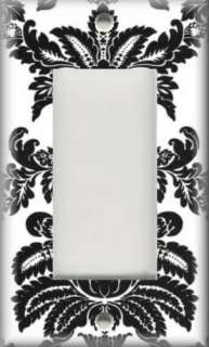 Light Switch Plate Cover   Black And White   Damask Design