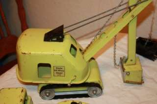 Vintage 1950s Tonka Shovel Dragline & Carry All Trailer Green State