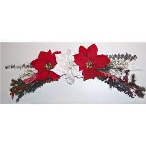 Poinsettia Christmas Silk Flower Swag: Home & Kitchen